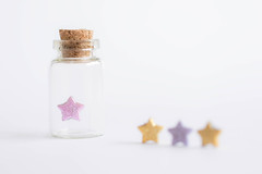 28/30: Don't stifle your dreams... (judi may) Tags: april2017amonthin30pictures stars jar highkey white whitebackground negativespace cork dof depthoffield soft softness pink purple gold macro canon7d