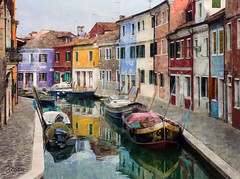 Burano (Xtian du Gard) Tags: burano venise painting italie color arcitecture boats reflet maisons houses art digiart