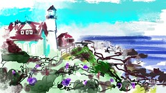 Portland  Head Light (flynryon) Tags: flynryon texture canvas flickr fingerpaintedit iamda paintbookca mobile art scumble mike ryon ipainter landscapes portraits figures mashablecom iphone digital artist auryn ink