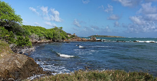 La côte sud de la Martinique et l'îlet Cabrits vus depuis la pointe des Salines
