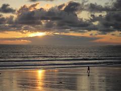 Solo Stroll at Sundown (Wildlife Terry) Tags: sunset beach seawall borth sea shore wales cardigan bay cloudsstormssunsetssunrises ceredigion yha
