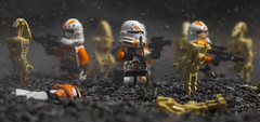 Stand and Fight! (Lego_LUTs) Tags: green blue yellow storm trooper star wars war lego outdoors clone troopers first order blasters afol minifigs minifigures bricks blocks canon toy toys force legos t3i republic people photoadd atst death rogue one dirt practical effects orange arc