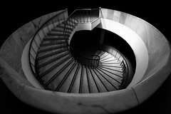 the beacon of light / an island in the dark (Özgür Gürgey) Tags: 12mm 2017 archaeologymuseums bw d750 nikon samyang architecture fisheye geometry highcontrast spiral stairs istanbul turkey