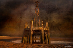 Remains of the Pier (Peeblespair) Tags: england travel withandy britain stannespier fyldecoast lancashire texture raeofgoldphotoart distressedtextures victorianarchitecture woodenstructure coast coastal seacoast peeblespair exture source is shown