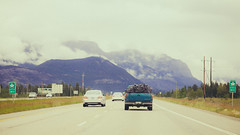 Go West, Young Man (michaelnugent) Tags: canon eos 5d mark ii ef 24 105 mm l lens trans canada highway 1 one alberta explore travel bow valley mountains clouds sky traffic portrait landscape scenery road