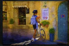 Boulangerie - Patisserie (WayneToTheMax) Tags: bounangerie patisserie bakery pastry shop store bicycle bike exercise woman health venasque france menu guide stucco sign flowers pot street nikon photoshop sport