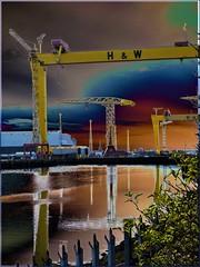 Belfast's Harland and Wolff's iconic shipyard cranes: an artistic impression (ronmcbride66) Tags: belfast titanic cranes samson goliath shipyard art artisticimpression iconiccranes harlandandwolff reflections titanicquarter vividstriking