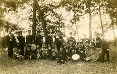 Orphans Home Band, Loysville, Pa. (Alan Mays) Tags: ephemera postcards realphotopostcards rppc photos photographs foundphotos portraits tressler bands tresslerorphanshomeband tresslerorphanshome orphanshomeband orphanages orphans children boys music musicians groups musicalinstruments instruments drums tubas trumpets frenchhorns clothing clothes uniforms trees outdoors religious loysville pa perrycounty pennsylvania antique old vintage