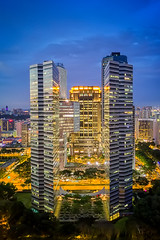 Gateway to Gotham (Mabmy) Tags: singapore building architecture thegateway gateway parkview gotham bugis city cityscape tall town office hotel sunset bluehour sky trees lights tower mavic mavicpro photography mabmy
