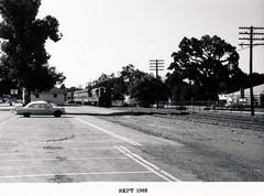 Menlo Park 1968: Train Station Area (menloparkplanning) Tags: menlopark california 1968 historical historicalphoto trainstationarea menloparkrailroadstation southernpacificdepot sanmateocounty mp1968downtownecr southernpacific peninsulacommute