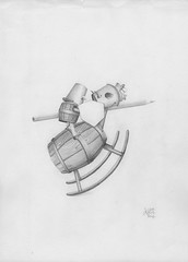 Power to the pencil ! (Klaas van den Burg) Tags: pencil black white absurd surreal wooden horse rocking lance balance