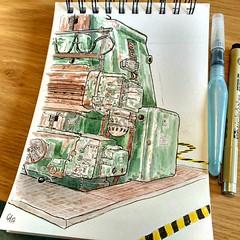La raboteuse Berthiez (Cécile Kery Hocquet) Tags: croquis urban sketchers brest bretagne finistère aquarelle watercolor sketchbook