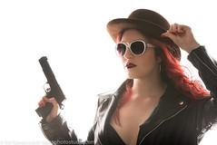 Bowler Hat (ReddAlternativeModel) Tags: pistol bowlerhat whitesunglasses motojacket
