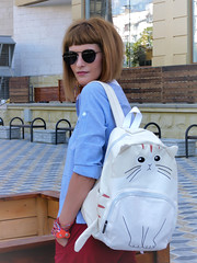DSCN3471+Doshedev+Ps (Mama Told Me) Tags: outfit look lookoftheday outfitoftheday lookbook marsala stripes cats backpack casual model fashionblogger fancy activered howtowear sunglasses catlook catlover