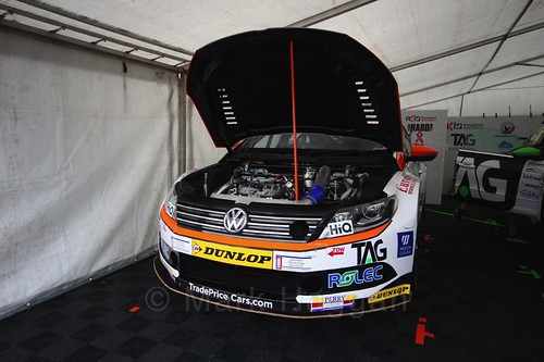 Will Burns' car in the Team Hard garage at Oulton Park