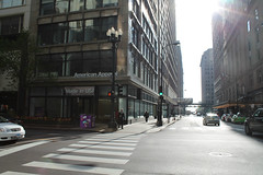 Buy American (Flint Foto Factory) Tags: chicago illinois urban city spring 2017 downtown loop april americanapparel store closed storefront 39 sstatest statest state monroe intersection palmerhouse hotel morning am sidewalk street cross walk sign signage cta chicagotransitauthority elevated l train track