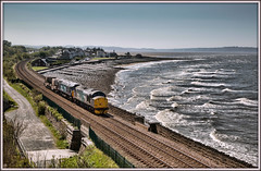Flask on the beach (david.hayes77) Tags: promenade seaside 37716 57002 llanfairfechan northwales wales 2017 drs directrailservices nuclearflasks 6k41 beach coast class57 class37 contrejour beachpavilioncafe flask sea waves cymru