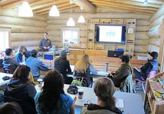 BCWF's Neil Fletcher begins the workshop (BC Wildlife Federation's WEP) Tags: lillooet wetland restoration design workshop wetlands education program bcwf wep splitrock environmental spray creek ranch farm organic schoolyard aboriginal