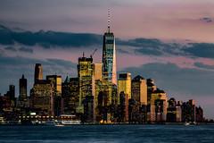 Gotham City at Dusk (Ben-ah) Tags: nyskyline highrises buildings architecture sunset dusk hudsonriver goldenglow manhattan newyork newyorkskyline gotham gothamcity