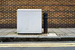 Box (cybertect) Tags: canonfd35mmf28 islington london londonn1 n1 sonya7 wharfroad bollard brick wall yellowline