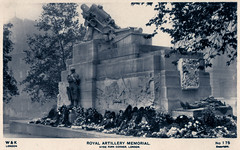 London - Royal Artillery Memorial (pepandtim) Tags: postcard old early nostalgia nostalgic london royal artillery memorial hyde park corner 33ram43 wk real photograph british manufacture unveiled duke connaught 1925 inscription proud remembrance king country great war