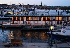 View of Strandvägen from Skeppsbro (Christine H.C. Valenzuela) Tags: stockholm sweden sverige city downtown strandvägen boats water lights blue hour view lightning composition chcv christine valenzuela skeppsholmen port hamn
