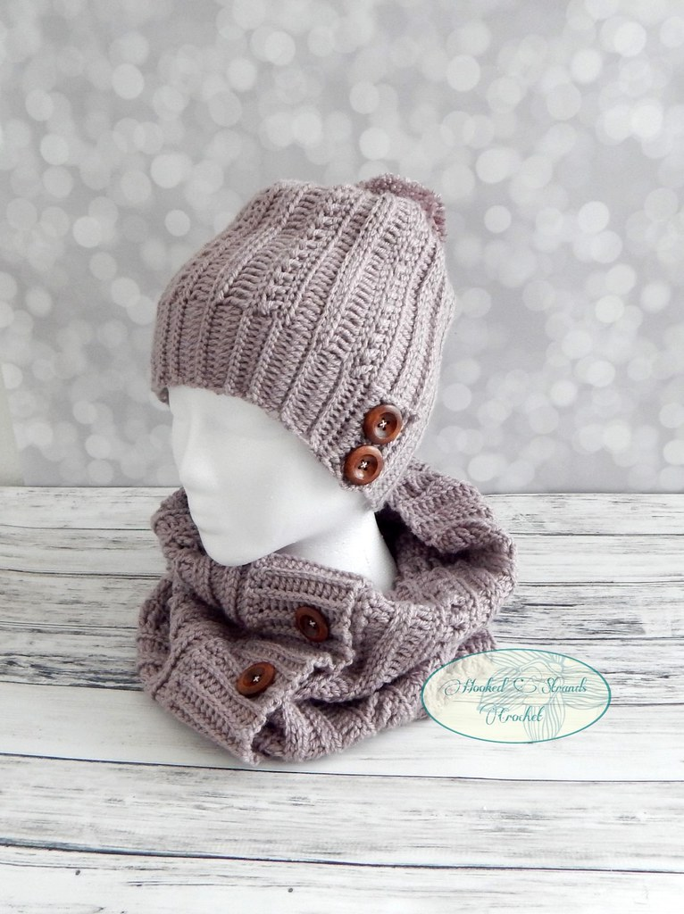 68f0c4d120986 Cameron hat and cowl (Hooked Strands Crochet) Tags  winter hat cowl set  crochet womens