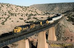 ATSF 4029-3854-5358 w, bridge 2, Abo Canyon, NM. 4-14-2001 (jackdk) Tags: train railroad railway locomotive emd emdgp60 gp60 atsf santafe bnsf bridge bridge2 abo abocanyon trailertrain intermodel canyon trestle desert
