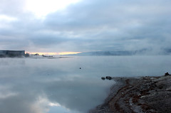 Sulphur Lake Rotorua (jmendozza) Tags: lake nz new zealand steam sulfur sulphur grey gray rotorua hot warm sand dead stinky smelly