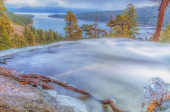 (Marc Crumpler (Ilikethenight)) Tags: landscape california usa laketahoe emeraldbay eaglefalls sunrise clouds trees mountains sierranevadamountains lake water falls waterfall ice icy canon canon6d 6d