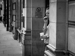 No Smoking (Leanne Boulton) Tags: monochrome people portrait urban street candid portraiture streetphotography candidstreetphotography streetlife candidportrait man male face facial expression look emotion feeling smoke smoker smoking cigarette juxtaposition doorway sneaky perspective tone texture detail depthoffield bokeh naturallight outdoor light shade shadow city scene human life living humanity society culture canon canon5dmkiii 5dmarkiii 70mm character ef2470mmf28liiusm black white blackwhite bw mono blackandwhite glasgow scotland uk