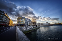 Paris in the morning (marko.erman) Tags: seine river city cityscape sunrise sun light sunrays architecture sony france beautiful morning walking outside pov uwa wide angle perspective stairs banks rivière paris iledelacité ilesaintlouis pontlouisphilippe