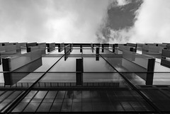Architecture West End EPMG  (9 of 20) (Philip Gillespie) Tags: architecture edinburgh scotland mono buildings city sky spring form shape angles reflections clouds modern