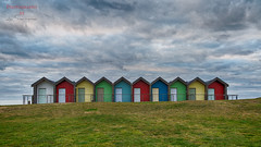 The Huts (N E Pic's) Tags: beachhuts blyth dramatic sky clouds grey hdr colours red yellow blue green white grass canon canonuk eos6d sigma sigma24105f4art sigmalenses northeastengland northumberland beach coastal