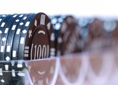 Poker Chips (haberlea) Tags: home hmm mm macromondays macro chips pokerchips poker game plastic row black numbers