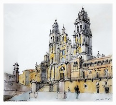 Santiago de Compostela - Galicia  - España (guymoll) Tags: santiagodecompostela santiago saintjacquesdecompostelle saintjacques cathédrale église galicia galice pèlerinage croquis sketch aquarelle acuarela aguarela watercolour watercolor