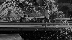 Bridge Of Our Future (Rand Luv'n Life) Tags: odc ou daily challenge san diego california embarcradero water fountains children playing outdoor father son monochrome blackandwhite future bridge park