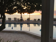 Looking Out at the Sunset (soniaadammurray - Off) Tags: life beautiful harmony iphone sunset sky clouds trees sea pool water reflections chairs fence deck beach nature screen light sunshade quartasunset