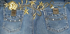 2 pockets and a flower (muffett68 ☺ heidi ☺) Tags: 100pocketproject pocket denim embroidery