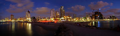 Tel Aviv skyline (ej - photography) Tags: tel aviv israel 2016 fujifilm xt1 xf1024mmf4 bluehour nacht night city stadt strand beach reflection spiegelung farben colours september skyline panorama lights citylights