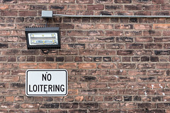 No time, no time! (A Different Perspective) Tags: detroit michigan usa brick lamp light loitering no sign text wall warning wire