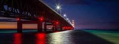 Panoramic Shot of the Mighty Mac (T P Mann Photography) Tags: light low exposure long reflections lights night huron lake straits bridge mackinac michigan