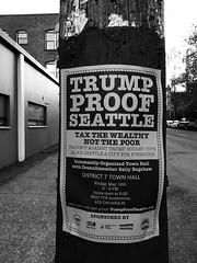 Trump Proof (zenseas) Tags: trump sign townhall signage funny interesting trumpproof belltown seattle washington politics bw monochrome blackandwhite trumpproofseattle wish wishfullthinking protest union seiu iphone iphone7plus resistance resist trumpbudget trumpbudgetcuts taxcuts political taxthewealthy noir antitrump posted antirepulican notmypresident hopeful hopefulthinking positivethinking nottrump notdonald notthedonald telephonepole telephone street streetscene urban urbanscene urbanscape dennyregrade downtown sallybagshaw trumpproofseattleorg district7 communityorganized cool notrump trumpless resisttrump explore explored