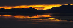 Once More Unto the Breach (carolina_sky) Tags: hooper utah unitedstates us antelopeisland greatsaltlake saltlakecity sunset gold silhouette reflection lake beach mountains clouds pentaxk1 pentax70200mm pixelshift