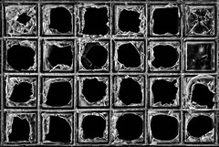 Broken Glass Blocks 5075 E (jim.choate59) Tags: glass decay broken glassblocks monochrome creepy dark jchoate pattern on1pics