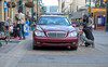 The Red Mercedes (Sherlock77 (James)) Tags: calgary downtown stephenavenue car streetphotography people man woman dog