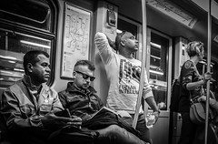 Alone together (Henka69) Tags: metro subway candid publictransportation milano milan monochrome street streetphoto