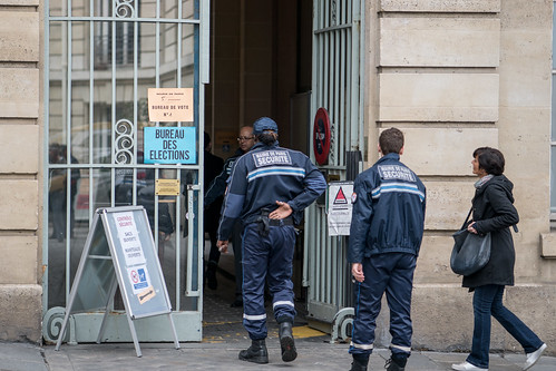 French Election: security entering a polling station in the 5th arrondissement, Paris