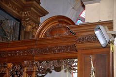 "Steene, Nord, Flandre, ""Église Saint-Martin"", choir stalls, south side (groenling) Tags: steene nord hautsdefrance pasdecalais flandre france fr églisesaintmartin stalls stalles koorbanken wood carving woodcarving hout snijwerk houtsnijwerk boiseries 1895 colesson"