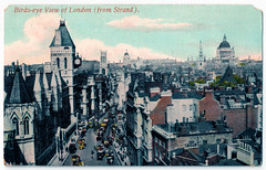 London Panorama Prior to 1909. And Carpet Bombing. (pepandtim) Tags: postcard old early london panorama law courts glossochrome series kehrhan bexleyheath west 13021909 1909 jessie mccormick south orange grove avenue pasadena california usa fog cold paris lilly strand dinner new york financial backers lee forest wireless telegraph telephone instrument news advertising st clement danes 1682 sir christopher wren gutted blitz restored 1958 royal air force slate floor badges raf arthur bomber harris hugh dowding dresden germany hamburg 1992 queen elizabeth mother surprised graffiti carpet bombing